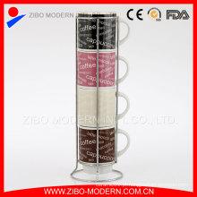 Bulk Price White Decal Caneca de café empilhada com suporte