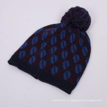 Унисекс трикотажные Жаккардовые губы печать пом пом зима теплая шапка Шапочка (HW153)