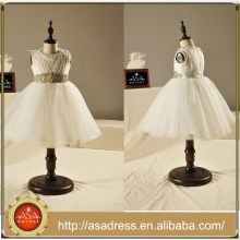 FL1001 Ivory Tulle Crystal Belt Jewel Ball Gowns For Little Girls Ankle Length Lovely Flower Girl Dresses