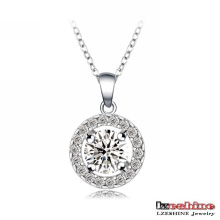 18k White Gold Plated Round Shaped Wedding Necklace (CNL0006-B)