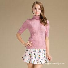Großhandels-China Lieferanten Frühling High Neck Wolle Cashmere-Mischung Pullover für Frauen