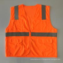 Veste de sécurité en tissu solide à fermeture à glissière multiple avec bande réfléchissante ANSI 107