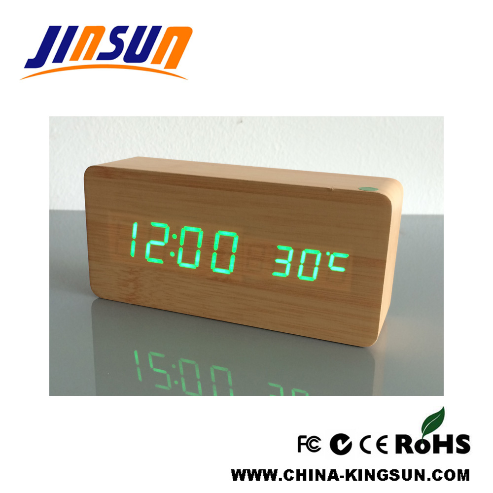 Bamboo Color Clock Alarm With Led Light