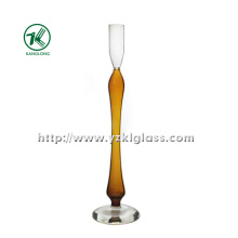 Glass Candle Holder for Home Decoration with Single Poster (10*10*34)