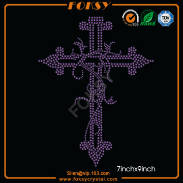 Customized for Faith Cross Rhinestone Transfer Purple Cross wholesale heat press transfers supply to Antarctica Factories