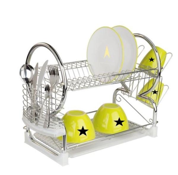 Sturdy metal dish rack with white drip tray