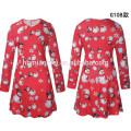 2017 Европейская Мода С Длинным Рукавом Одежда Оптом Красный Красочные O-Образным Вырезом Одежда Женщины Платье Для Рождество