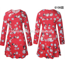 2017 European Fashion Long Sleeve Clothing Wholesale Red Colorful O Neck Clothes Women Dress For Christmas