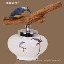 Forme ronde régulière Vases en céramique modernes Maisons décoratives en poterie en pot avec poignée en bois