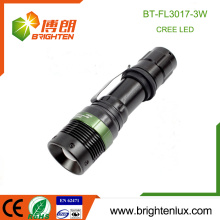 Factory Hot Sale 1*18650 Battery Operated 3 Modes Light Zoomable Aluminum Bright 3watt led Rechargeable Cree Flashlight Tactical