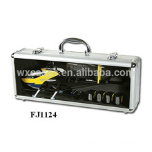 strong aluminum helicopter carrying case with custom foam insert and a clear show window