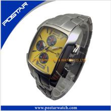 Relógio de forma dos homens com faixa de aço inoxidável