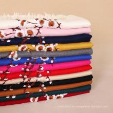 Barato 13 colores 300g ciruela flor floral bordado mujeres pashmina chal cashmere scaf