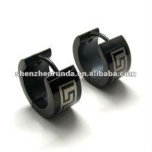 Черные 316L S.Steel серьги для мальчиков