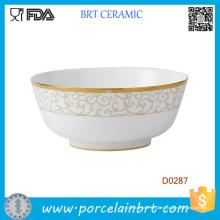 Tazón de fuente de ensalada de cerámica decorativa blanco de Goden