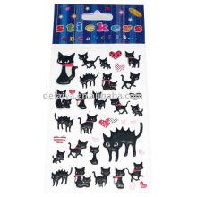 Наклейка черный кот паффи