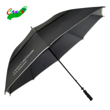 Strong stormproof water resistant piping cover rubber handle stick up and down two layer double canopy air vented golf umbrella