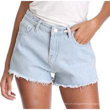 Pantalones cortos de mezclilla rotos destrozados talla grande para mujer