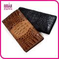 Handmade Money Clip Genuine Crocodile Skin Leather Men′s Brown Black Wallet with Box for Gift