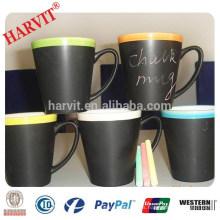 Artículos promocionales de la bebida Regalos del mundial de la taza / tazas al por mayor de la sublimación con la tiza / la taza negra de cerámica de la tiza