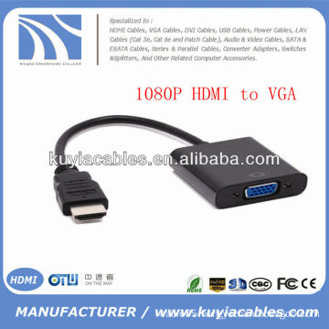 1080p HDMI to VGA Video Cable Adapter Built-in Chipset Black