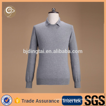 2016 Collar neck dark gray color cashmere sweater