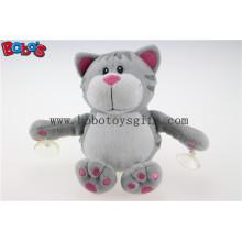 Plüsch Saugnapf Katze Spielzeug gefüllte graue Katze Tier Spielzeug mit Kunststoff Saugnäpfe Bos1139