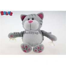 Peluche de succión de juguete de gato gato relleno de animales gato gris con ventosas plásticas Bos1139