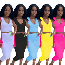 New Season Design Autumn Solid Color Deep V Dress Basic Women′ S Tight-Fitting Sexy Fashion Vest Ladies Plus Size Skirt Two-Piece Suit