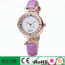 Bracelet en cuir et boîtier en alliage Lady Gift Diamond Watch