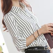 Moda Feminina Stripe Shirt Branco e Preto
