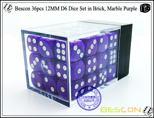 Bescon 36pcs 12MM D6 Dice Set in Brick, Marble Purple-2