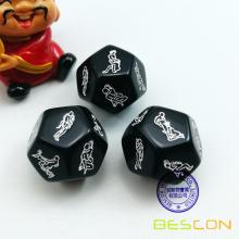 Black 12 Sides Love Dice Lover Sex Position Dice pour les couples adultes Dirty Die Game Sexe
