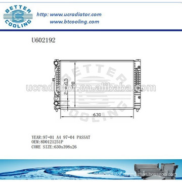 Aluminum Radiator For VOLKSWAGEN A4/PASSAT 97-04 8D0121251P