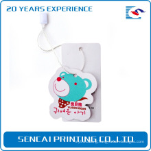 SenCai bear shaped tag with blue bear pattern and white rope buckle