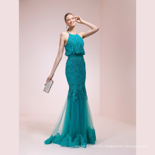 Lace Blue Memraid High Quality Evening Dress