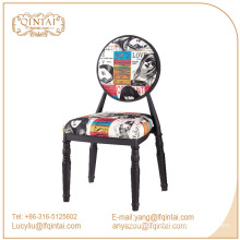 novel vintage design coffee shop colorful iron metal chair stools with back