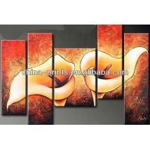 Multi-Paneles Lily Flor Pintura Por El Petróleo Pintado A Mano
