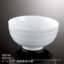 Tazón de cerámica más vendido de doble línea, juego de cena