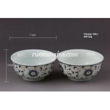 Taça de Chá de Porcelana de Flor Leve-Dourada, 60cc / xícara
