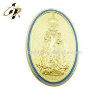 Placas de religión de oro de esmalte de metal personalizado promocional