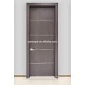 Interior wooden door with aluminum strips