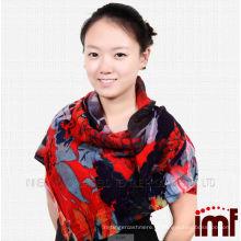 2014 lenço da forma nova impressão digital xaile de lã 100% lã xaile