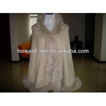 women cashmere wrap with fox fur trim