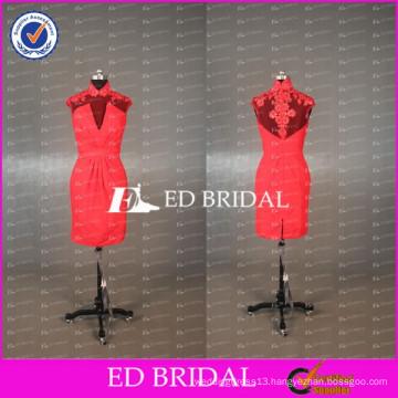 China Red High Neck Sheer Cap Sleeve Appliqued Knee Length Bridesmaid Dress