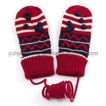 Модные теплые трикотажные акриловые жаккардовые перчатки и рукавицы