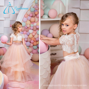 2017 Tulle Satin Lace Tiered Button Little Princess Flower Girl Dresses