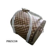 sac cosmétique de PVC de haute qualité avec motif rose et 4 plateaux amovibles à l'intérieur, les options de couleur différente