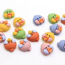 Bulk 100Pcs Animal Bird Duck Chick Head Cabochons Flatback Resin Animal Head Craft Slime Charms DIY Hair Band Accessories