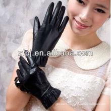 Heiße Verkauf schwarze lederne Handschuhfrauenart